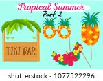 set of printable tropical party ... | Shutterstock .eps vector #1077522296
