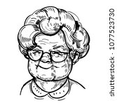 sketch of old woman face ... | Shutterstock .eps vector #1077523730