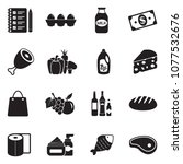 grocery list icons. black flat... | Shutterstock .eps vector #1077532676
