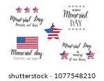 memorial day lettering set.... | Shutterstock .eps vector #1077548210
