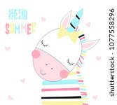 cute little unicorn zebra with... | Shutterstock .eps vector #1077558296