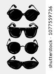 set of sunglasses. hand drawn... | Shutterstock .eps vector #1077559736