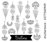 vector set of nice hand drawn... | Shutterstock .eps vector #1077560909