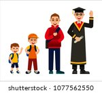 set of students with different... | Shutterstock .eps vector #1077562550