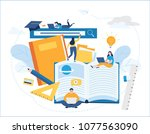 online training courses vector... | Shutterstock .eps vector #1077563090