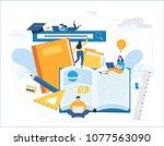 online training courses vector... | Shutterstock .eps vector #1077563090