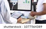 doctor woman uniform with... | Shutterstock . vector #1077564389