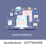 content marketing  blogging and ... | Shutterstock .eps vector #1077564458