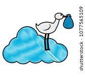 baby shower stork standing in...   Shutterstock .eps vector #1077565109