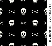 hand drawn skull seamless... | Shutterstock .eps vector #1077566954