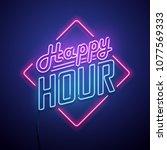 Happy Hour Neon Sign. Vector...