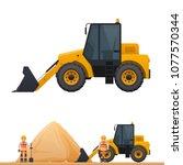 vector wheeled tractor  tractor ... | Shutterstock .eps vector #1077570344