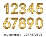 golden numbers.gold numbers for ... | Shutterstock .eps vector #1077573503
