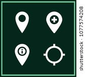 set of 4 gps filled icons such... | Shutterstock .eps vector #1077574208