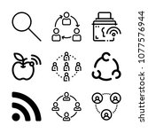 set of 9 connection outline...   Shutterstock .eps vector #1077576944