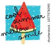 cool watermelon illustration ... | Shutterstock .eps vector #1077578390