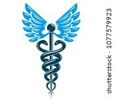 caduceus medical symbol ... | Shutterstock .eps vector #1077579923