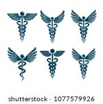 set of vector caduceus symbols... | Shutterstock .eps vector #1077579926