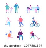 different people characters.... | Shutterstock .eps vector #1077581579