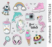 fashion patch badges with girl... | Shutterstock .eps vector #1077582116