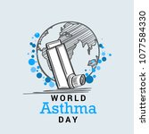 illustration of world asthma... | Shutterstock .eps vector #1077584330