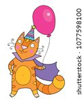 cute red cat in the cape with... | Shutterstock .eps vector #1077598100
