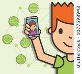 teen boy holding smartphone... | Shutterstock .eps vector #1077598943