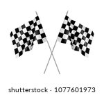 two racing flags crossed... | Shutterstock . vector #1077601973