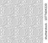 3d white paper art spiral curve ... | Shutterstock .eps vector #1077604220