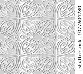 3d white paper art curve cross... | Shutterstock .eps vector #1077604280