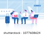 people sitting in airport...   Shutterstock .eps vector #1077608624