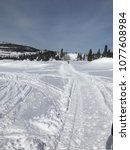 walking trail in snow | Shutterstock . vector #1077608984