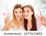 portrait of pretty cheerful... | Shutterstock . vector #1077612803