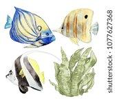 watercolor sea animals... | Shutterstock . vector #1077627368