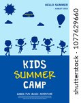 kids summer camp ad  poster or... | Shutterstock .eps vector #1077629660