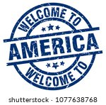 welcome to america blue stamp | Shutterstock .eps vector #1077638768