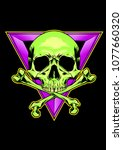 skull with triangle emblem... | Shutterstock .eps vector #1077660320