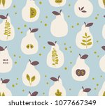 seamless pattern with pears and ... | Shutterstock .eps vector #1077667349