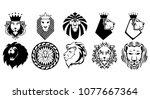 lion heads set vetor | Shutterstock .eps vector #1077667364
