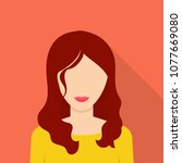 nice woman icon. flat... | Shutterstock .eps vector #1077669080
