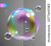 realistic soap bubbles with... | Shutterstock .eps vector #1077669383