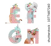 cute watercolor alphabet with... | Shutterstock . vector #1077687260