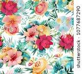 beautiful  bright watercolor...   Shutterstock . vector #1077687290