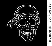skull with bandana vector... | Shutterstock .eps vector #1077695168
