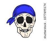 skull with bandana vector... | Shutterstock .eps vector #1077695174