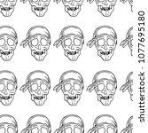 skull with bandana vector... | Shutterstock .eps vector #1077695180