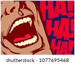 pop art style comics panel... | Shutterstock .eps vector #1077695468
