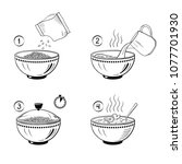 steps how to cook porridge.... | Shutterstock .eps vector #1077701930
