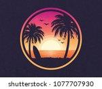 sunset on a beach vector... | Shutterstock .eps vector #1077707930