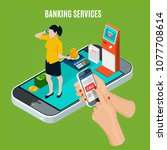 banking services isometric... | Shutterstock .eps vector #1077708614